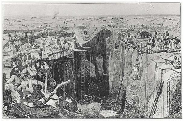 Dibujo de las condiciones en Kimberley en la década de 1870 (dominio público)