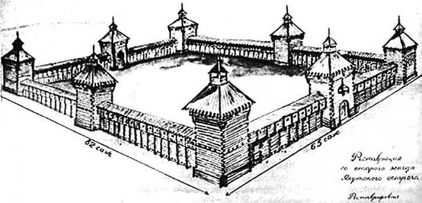 Dibujo del ostrog Lensky. Imagen: Yakutiatravel.com