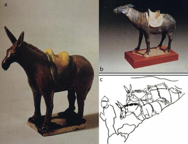 a – b) Figuras de cerámica de burro encontradas en Xi'an; c) bosquejo de las pinturas de la dinastía Tang Dunhuang (T. Wang / Antiquity Publications Ltd).