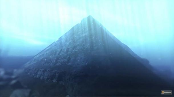 Reconstrucción digital de una pirámide sumergida en el lago Fuxian, China. (Historial / Captura de pantalla de YouTube)