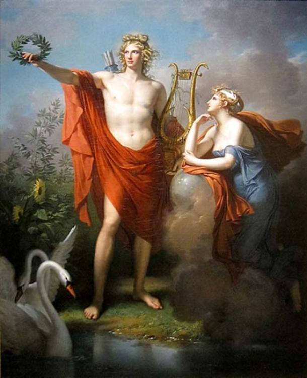 Apolo, Dios de la Luz, Elocuencia, Poesía y Bellas Artes con Urania (Charles Meynier - Dominio público)