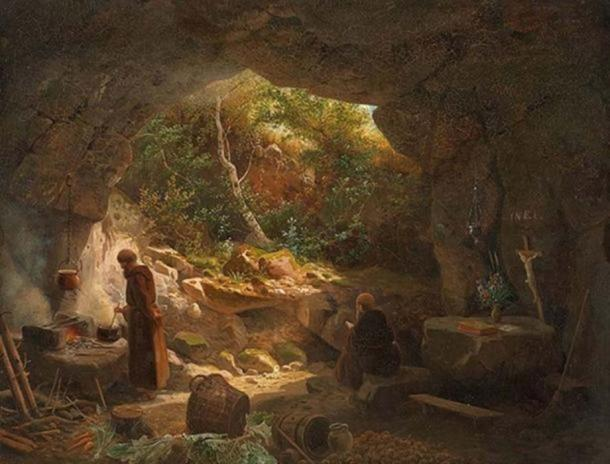Dos ermitaños en una cueva. (Public Domain)