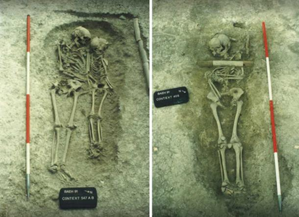 Izquierda: Entierro doble en Edix Hill de una mujer adulta y un niño de alrededor de 10 u 11 años cuando murieron de peste a mediados del siglo VI. Derecha: Entierro de Edix Hill, de un joven de unos 15 años, cuando murió de peste a mediados del siglo VI. Imágenes: © Consejo del Condado de Cambridgeshire.