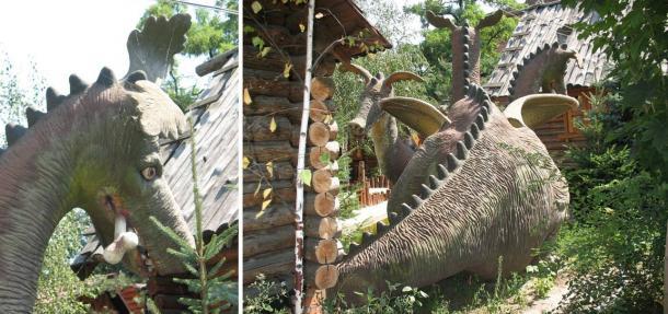"""Lugares de interés turístico están incorporando """"lore dragón '. Un dragón típico de 3 cabezas obesos eslava, Zmey Gorynych."""