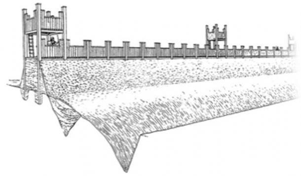 Dibujo de cómo habría sido el fuerte romano. (Ayuntamiento de Exeter)