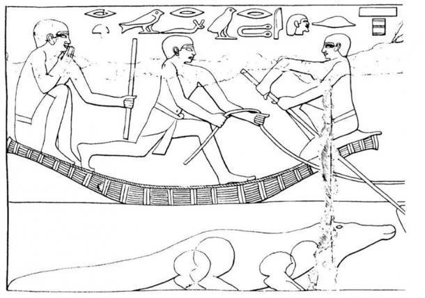 Dibujo de una escena pintada de la Tumba de Ankhmahor, Visir al Rey Teti, Antiguo Reino (~ 2330 a. C.), que muestra a un sacerdote lector sentado en un bote, sosteniendo su bastón mágico y pronunciando palabras mágicas para protección mientras vadea el río con los rebaños. Se ve un cocodrilo en el agua. (Ritner, Robert Kriech, The Mechanics of Ancient Egyptian Magical Practice, 1993)