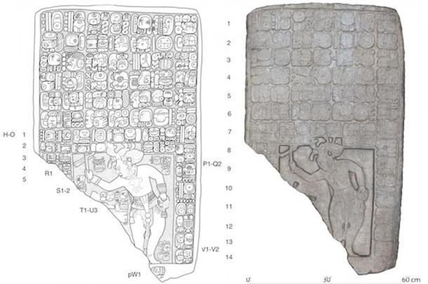 A la izquierda, dibujo de una tableta encontrada en el sitio. Derecha, un modelo digital en 3D. (Imagen: Stephen Houston (Universidad de Brown) / Charles Golden (Brandeis)