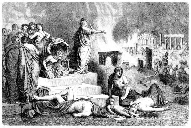 Este dibujo antiguo muestra a Nerón cantando durante el Gran Incendio de Roma. Y, según el libro más reciente sobre él, se le culpó erróneamente por el incendio y su carga financiera general posterior. (Erica Guilane-Nachez / Adobe Stock)