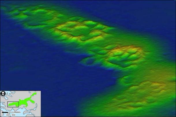 Un dron equipado con detección de luz y clasificación rápidamente recopiló detalles arquitectónicos y datos topográficos sobre el asentamiento de la isla de Raleigh con una resolución sin precedentes. Las imágenes revelaron anillos hechos de conchas de ostras que rodean 37 residencias. (Universidad de Florida)