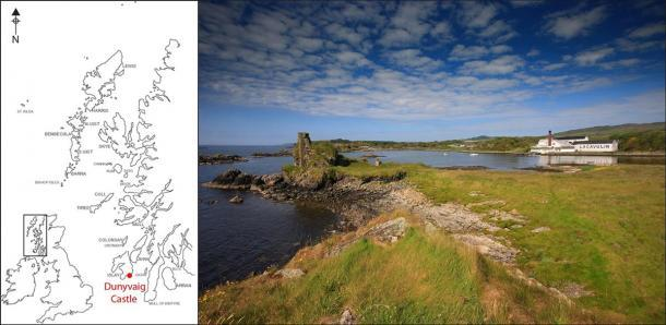 Castillo Dunyvaig, Lagavulin Bay, Islay, donde se encontró el sello del clan Campbell. (Darko Maricevic ̌ y Steven Mithen / Antiquity Publications Ltd).