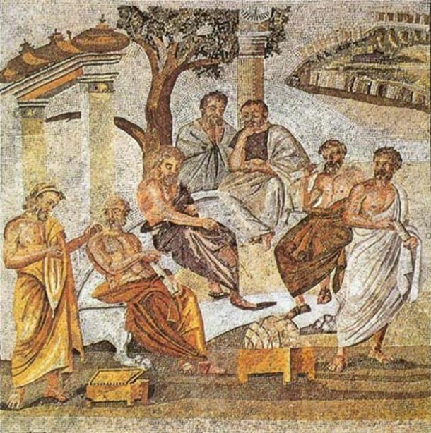 En la historia temprana de la infancia y la educación, la Academia de Platón es uno de los primeros ejemplos conocidos de educación superior. En la foto: un mosaico que representa la Academia de Platón, que se puede encontrar en Pompeya. (Dominio publico)