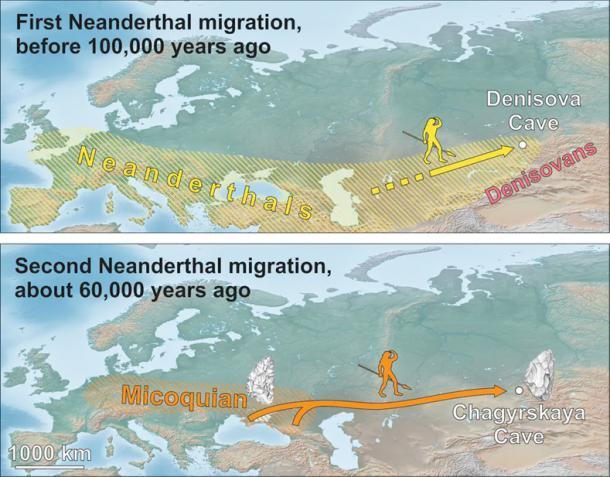 Dispersiones neandertales tempranas y posteriores al sur de Siberia. Kseniya Kolobova / Maciej Krajcarz / Victor Chabai, Autor proporcionado