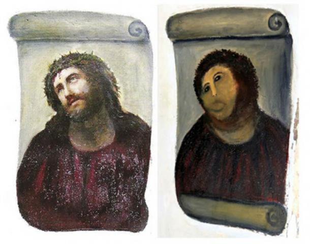 Ecce Homo de Elias García Martínez fue destruido en 2012 por un intento fallido de restauración. (Izquierda; Dominio público. Derecha; CC BY-NC-SA 2.0)