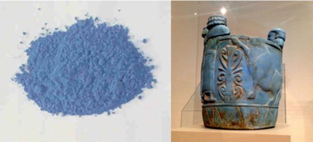 """Izquierda: El azul egipcio, también conocido como silicato de calcio y cobre, o CaCuSi4O10, o cuprorivaita, se considera el primer pigmento sintético jamás desarrollado. (Dominio público) Derecha: Pyxis en """"azul egipcio"""" producido 750-700 a.C., en exhibición en el Altes Museum de Berlín) (CC BY-SA 4.0)"""
