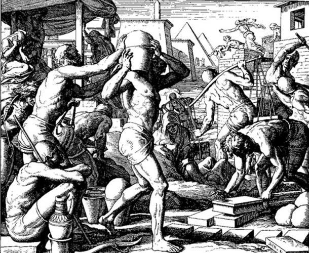 Los egipcios afligieron a los israelitas con cargas (grabado en madera de Julius Schnorr von Carolsfeld del Die Bibel de 1860 en Bildern). (Dominio público) El rey Mesa también tenía esclavos israelitas.
