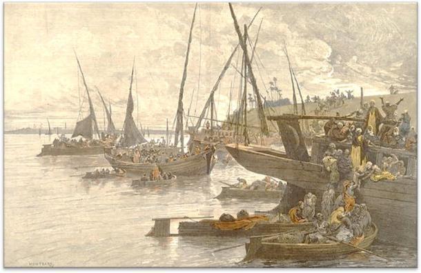 Egipcios abordando botes en el Nilo durante una epidemia de cólera, dibujada por CL Auguste (1841-1905). Colección de Bienvenida