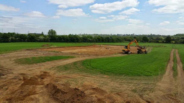El área de la excavación del escudo de corteza. (Universidad de Leicester / Fair Use)