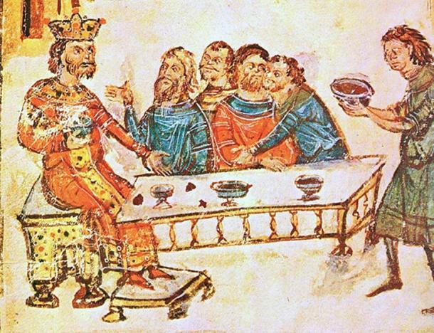 El búlgaro Khan 'Krum el temible' celebra con sus nobles como un sirviente trae el cráneo de Nikephoros I, formado en una copa de cráneo, llena de vino. (Soerfm / Dominio Público)