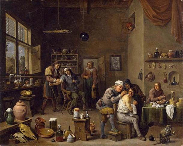 """""""El cirujano"""" de David Teniers el Joven, 1670. (Dominio publico)"""