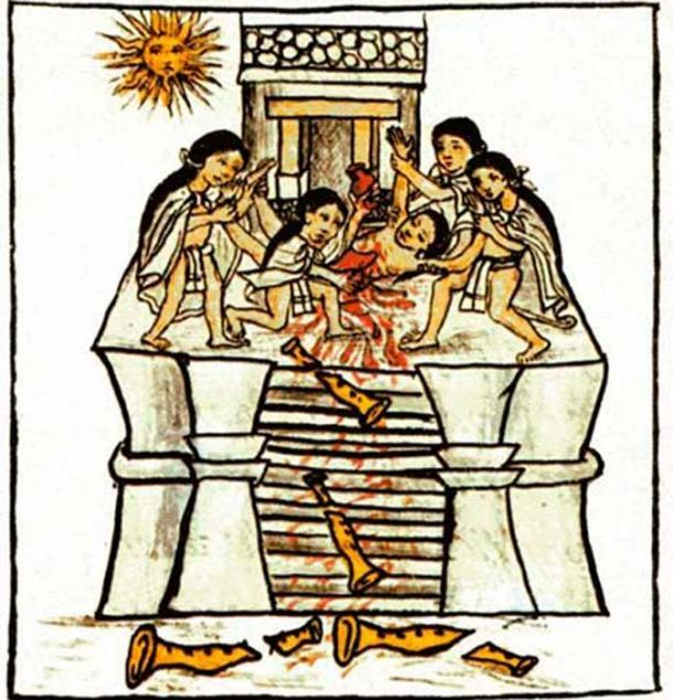 El cuerpo de un niño ofrecido a Tezcatlipoca Huitzilopochtli encontrado en el sitio del entierro real azteca. (PauloCalvo / Dominio Público)