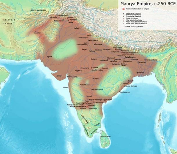 El extenso Imperio Maurya en alrededor de 250 a. C. Avantiputra7/Wikimedia Commons, CC BY-SA