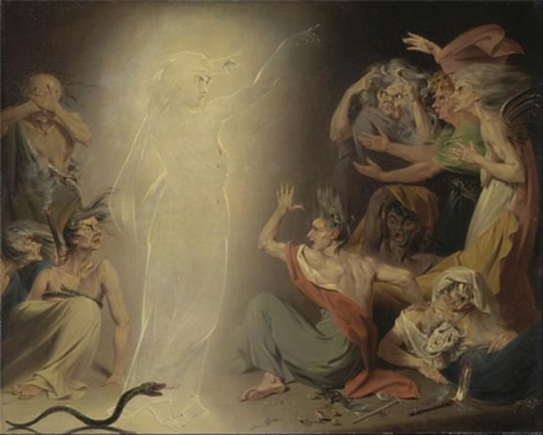 """""""El fantasma de Clitemnestra, el despertar de las furias"""" (1781) por John Downman. (Dominio Público)"""