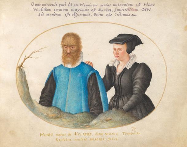 El hombre salvaje, Petrus Gonsalvus y su esposa, Lady Catherine. (Aavindraa / Dominio público)