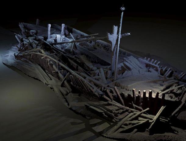 El naufragio de la Flor del Mar Negro, naufragio otomano del siglo XVII en perfectas condiciones. (Mapa del Mar Negro)