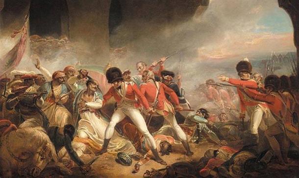 El último esfuerzo y la caída de Tipu Sultan en la Cuarta Guerra Anglo-Mysore (dominio público)