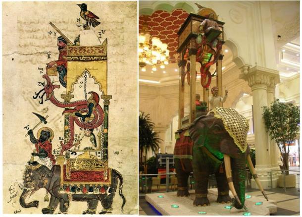 Izquierda: El reloj elefante del Libro del conocimiento sobre ingeniosos dispositivos mecánicos de Ismail al-Jazari. (Dominio público) Derecha: Reproducción del reloj de elefante en el Ibn Battuta Mall en Dubai. (Dominio público)