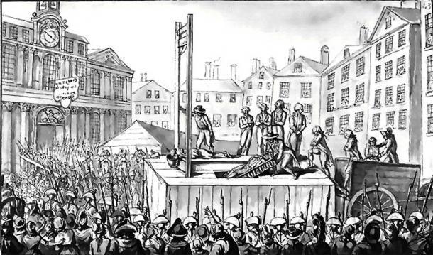 Nueve emigrados siendo ejecutados por guillotina en 1793 durante el reinado del terror. (Dominio publico)