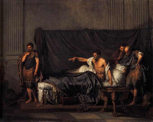 El emperador Severo reprocha a Caracalla su intento de asesinato. (Dominio público)