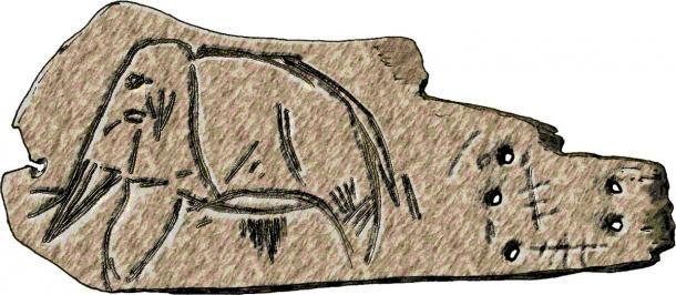 Grabado de un mamut sobre una losa de marfil de mamut, procedente de los depósitos de Mal'ta del Paleolítico Superior en el lago Baikal, Siberia (José-Manuel Benito / Dominio público)