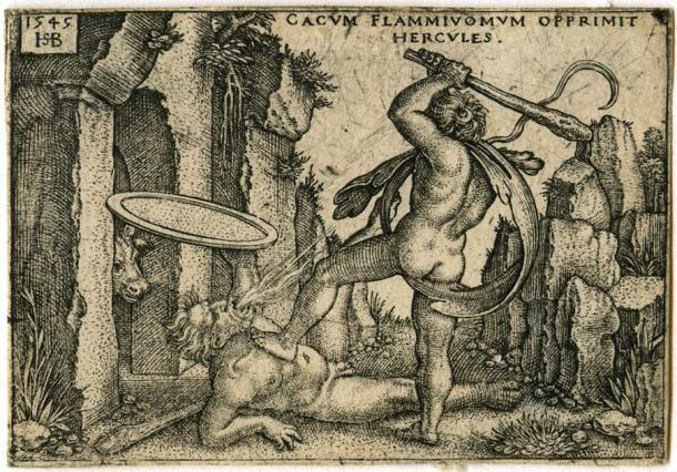 Grabado de Hércules matando a Caco en su cueva, de Los trabajos de Hércules. (Hans Sebald Beham (c.1525) / Dominio público)