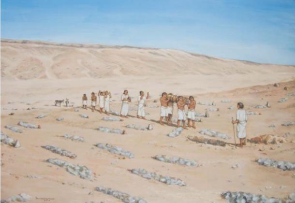 Una reconstrucción de un entierro en el cementerio del sur de Amarna (Reconstrucción por Fran Weatherhead a través de Antiquity Publications Ltd)