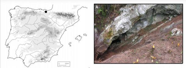 Entrada a la cueva Danbolinzulo, donde se realizó uno de los descubrimientos. (Blanca Ochoa et al. / Antiquity Publications Ltd)