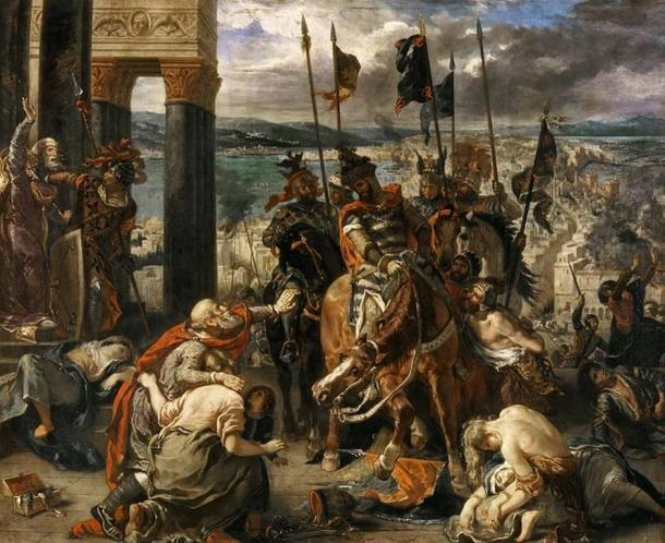 """""""La entrada de los cruzados en Constantinopla"""" (1840) por Eugène Delacroix. (Dominio publico)"""