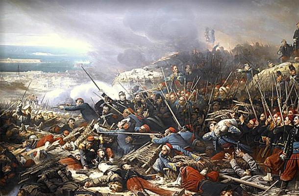 Episodio del asedio de Sebastopol durante la guerra de Crimea en 1855, donde Florence Nightingale trató a soldados heridos. (Adolphe Yvon / Dominio público)