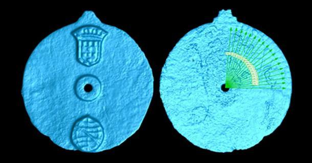 Escaneo del artefacto de astrolabio, mostrando los grabados. (Imagen: Universidad de Warwick)
