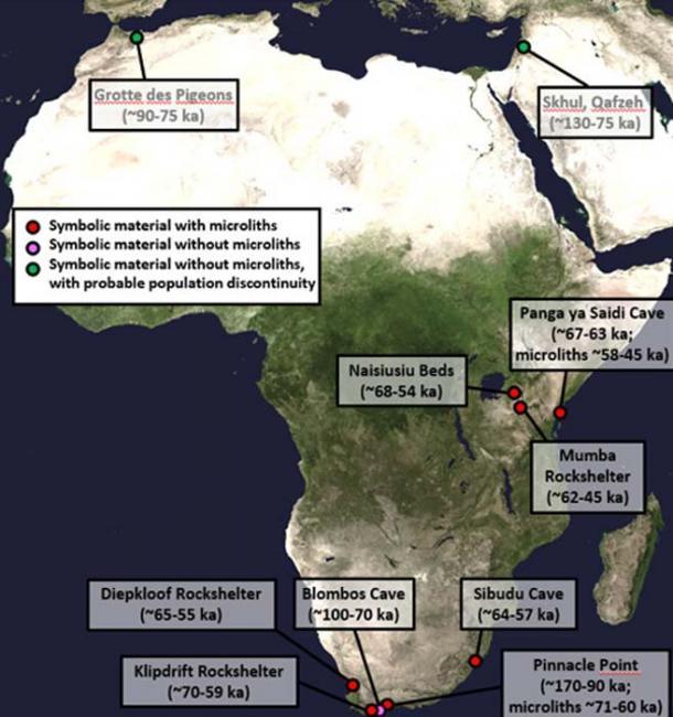 Este es un mapa que muestra los primeros sitios arqueológicos africanos con evidencia de material simbólico y herramientas de piedra microlítica. Crédito: NASA Goddard Space Flight Center imagen por Reto Stöckli