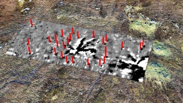El estudio geofísico reveló un rayo en el centro del círculo de piedra de Callanish. (Dr. Richard Bates, Universidad de St Andrews)