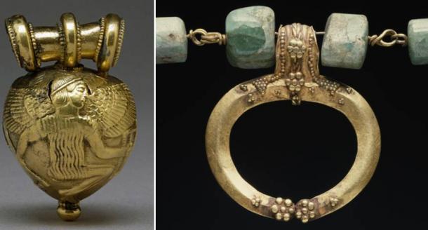 Bulla etrusca que representa a Dédalo e Ícaro (dominio público) y una lúnula. (Dominio público)