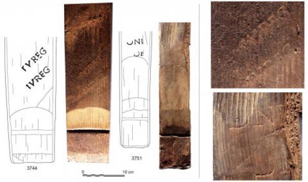 Evidencia de marcas y firmas en las barricas de vino romanas de Reim. (J.-J. Bigot (izquierda); F. Moiret (derecha) / Inrap)