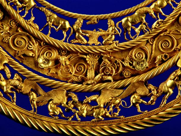 Ejemplo de arte escita, collar de oro, de un kurgan real, siglo IV a.C. (AeroSSC / Dominio Público)