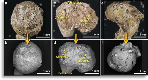 Ejemplos típicos de meltglass de Abu Hureyra (AH). (Moore, et al. 2020)