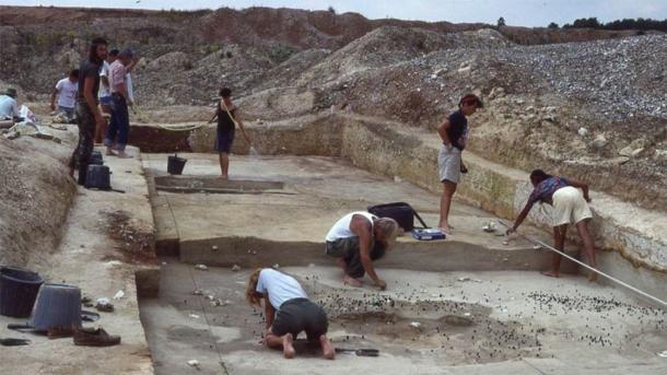 Excavación del sitio Boxgrove en West Sussex en 1990. (UCL INSTITUTO DE ARQUEOLOGÍA)