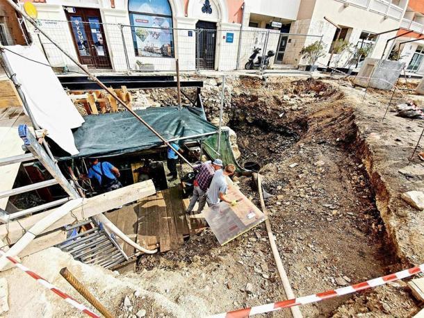 El sitio de excavación donde se descubrió el naufragio romano. (Grad Poreč)