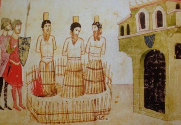 Ejecución de Jacques de Molay en París, marzo de 1314. Giovanni Villani, Nuova Crónica - ms. Chigiano L VIII 296 - Biblioteca Vaticana. (Dominio público)