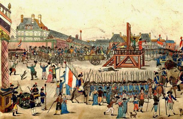 La ejecución de Robespierre y sus partidarios (julio de 1794) que guillotinaron a la mayoría de las personas durante el Reino del Terror después de la Revolución Francesa. (Dominio publico)