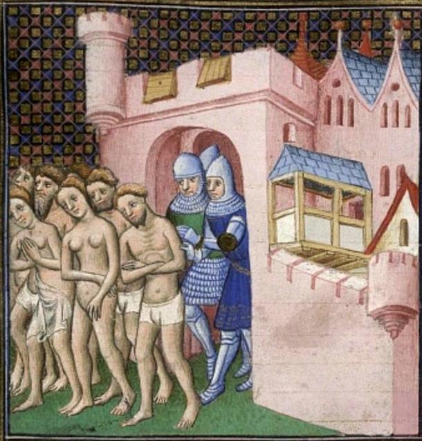 """Expulsión de los habitantes de Carcasona en 1209. Imagen tomada de """"Grandes Chroniques de France"""". (Dominio público)"""